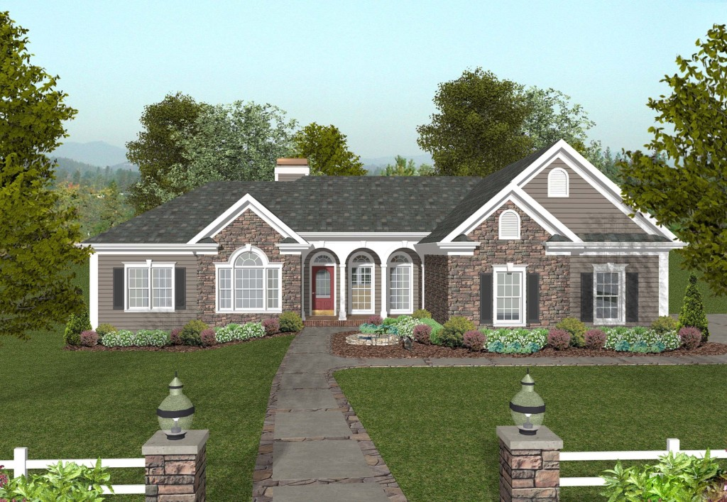 Traditional ranch house plan with master suite sdl for Custom ranch homes