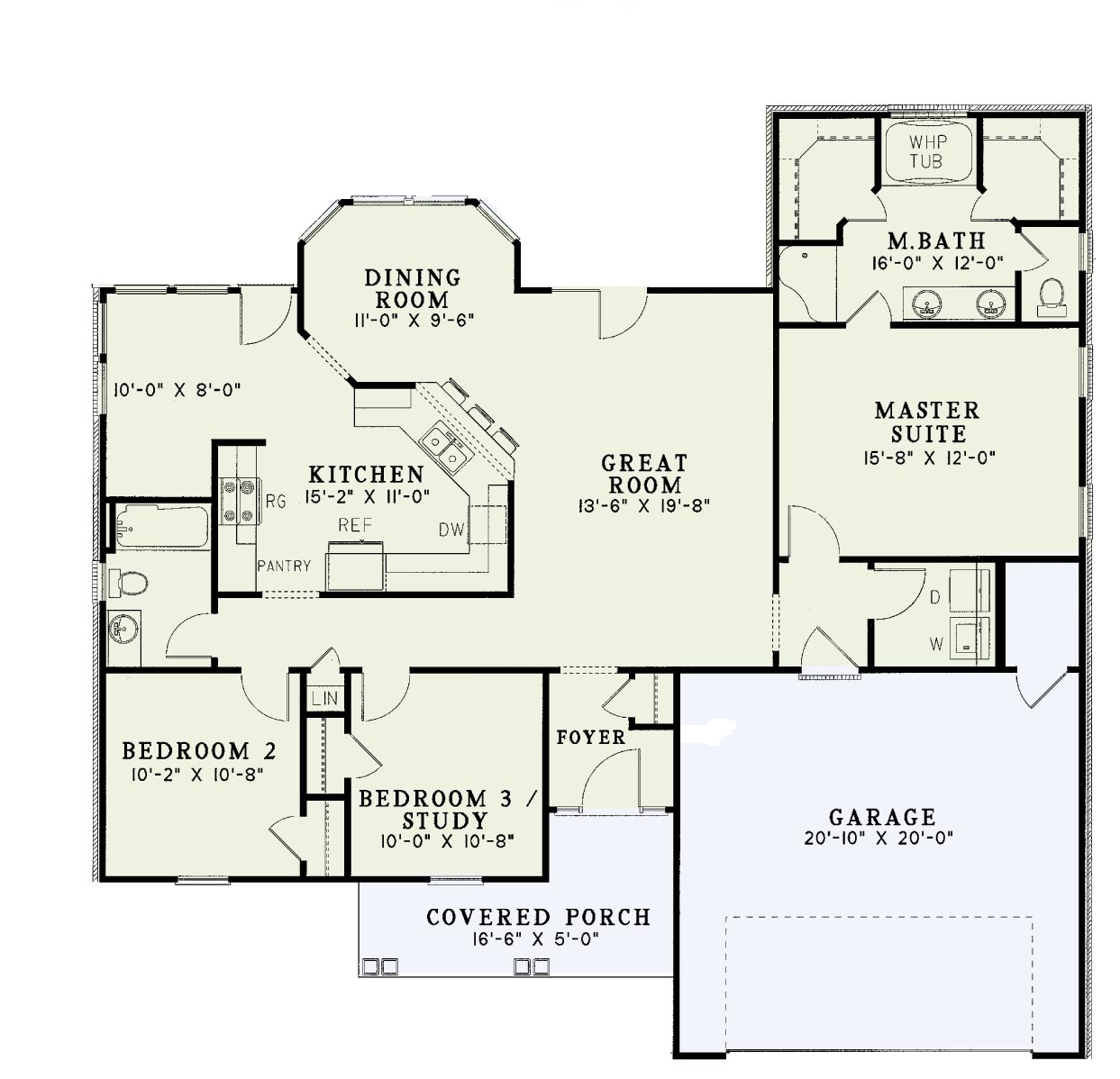 Traditional split bedroom floor plan sdl custom homes for Split master bedroom floor plans