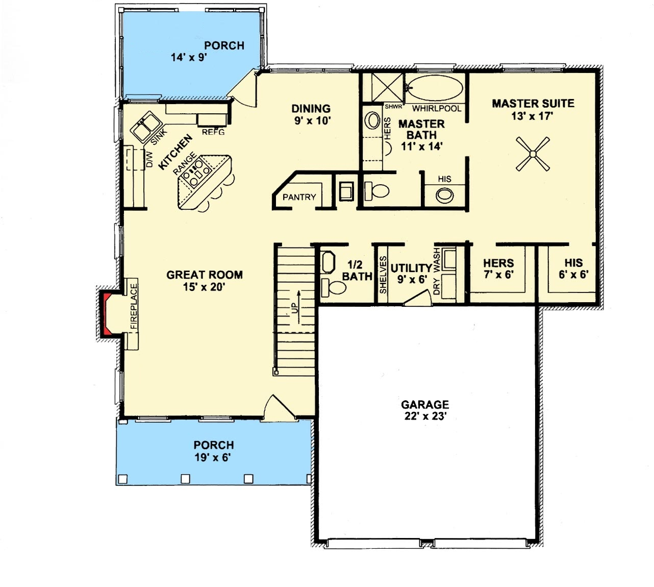 Open living area first floor plan sdl custom homes for Modified cape cod house plans