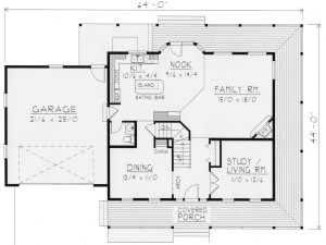 Full Length Covered Porch Plan Image - Floor 1