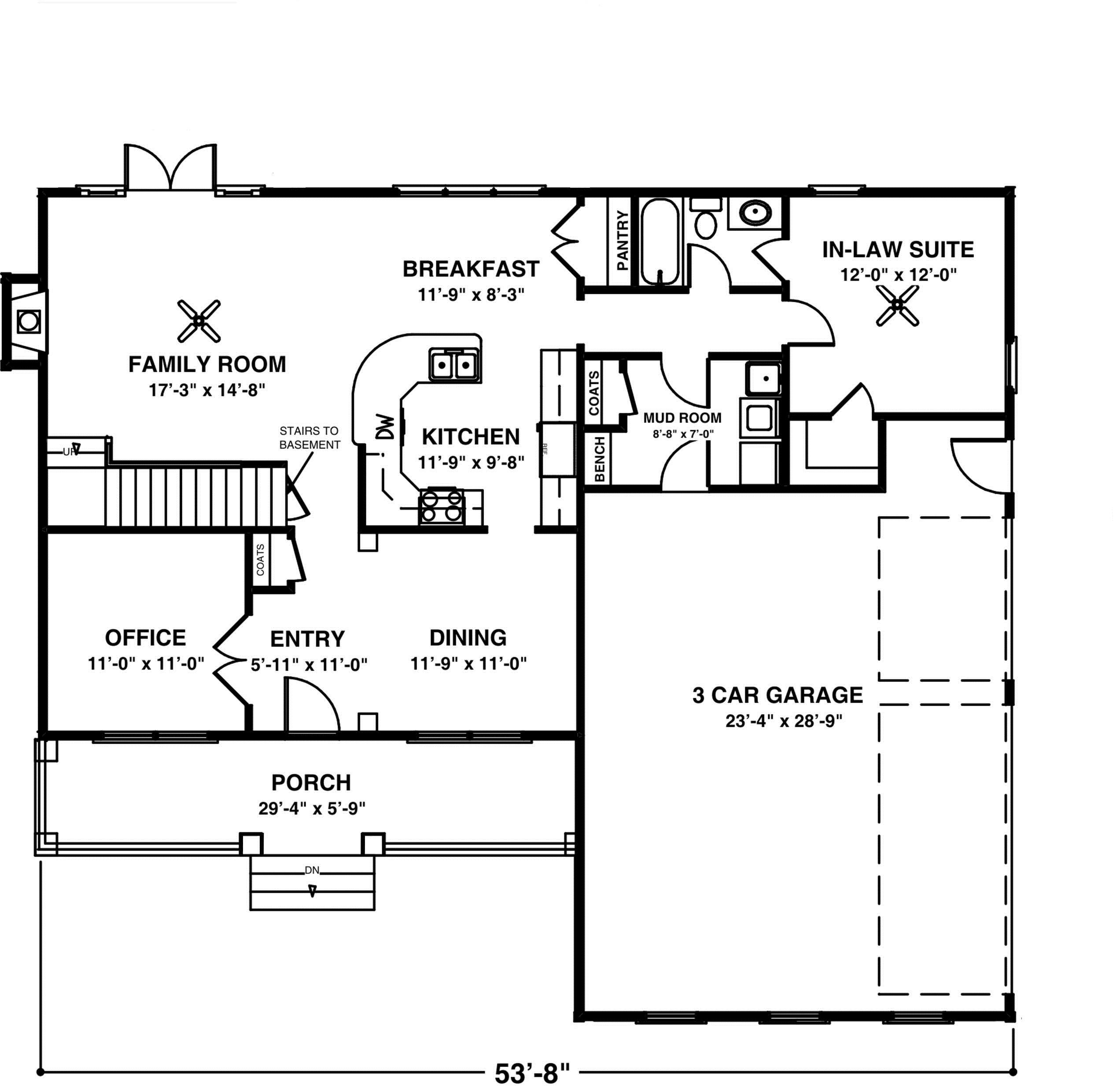 Cozy porch and in law suite first floor plan sdl custom for Mother daughter house design