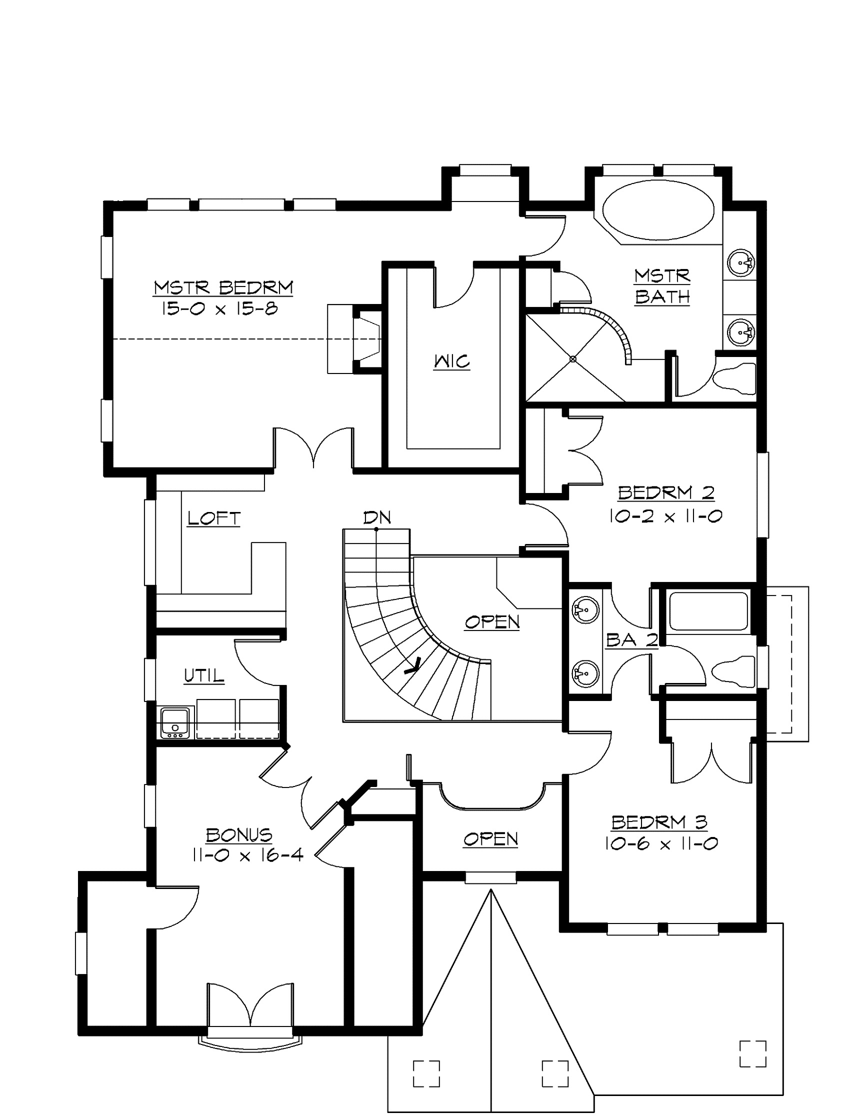 Craftsman bungalow second floor plan sdl custom homes for Custom house blueprints