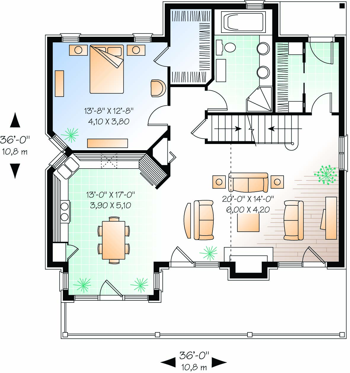 Four season cottage first floor plan sdl custom homes for Custom bungalow floor plans