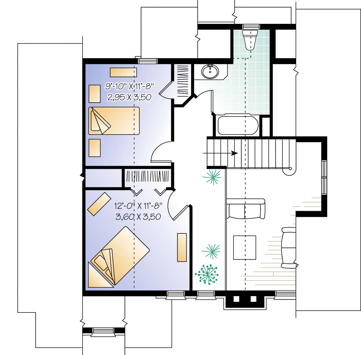 Four season cottage second floor plan sdl custom homes for Custom bungalow floor plans