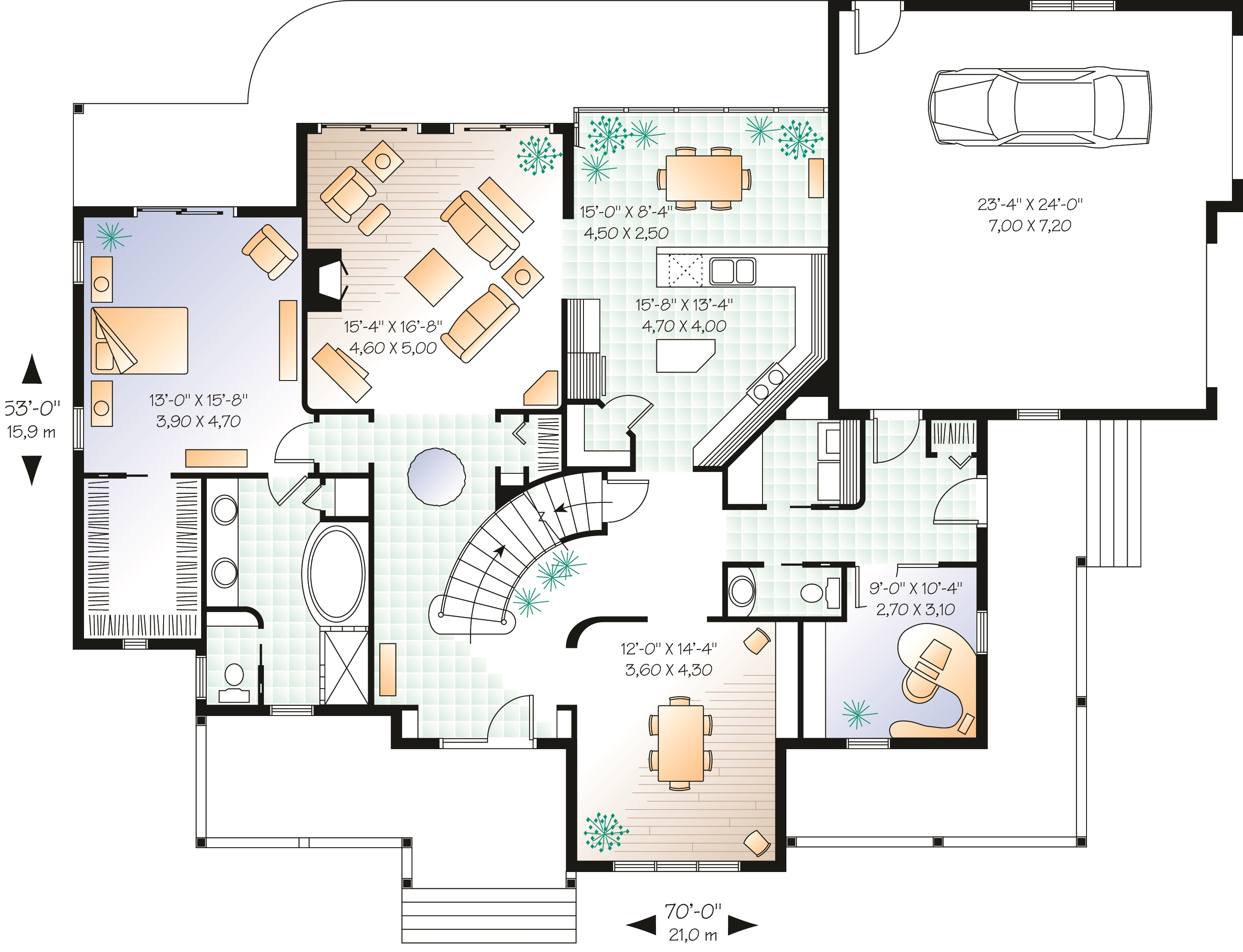 Custom home plan with home office maverick homes for Custom one story home plans