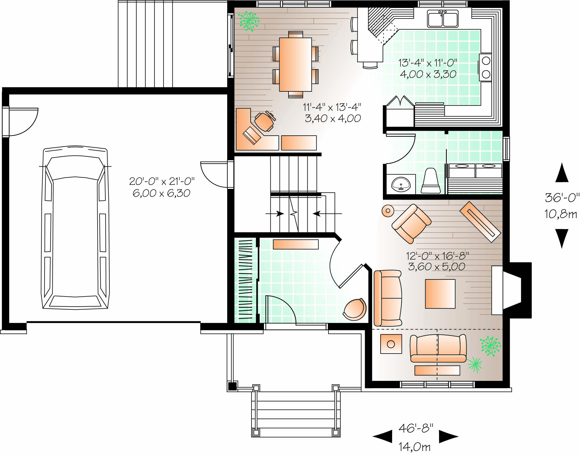 compact two story home plan