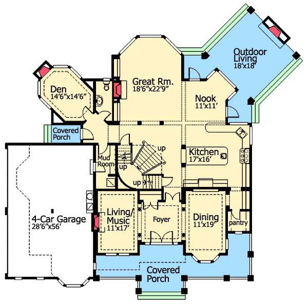 Living in grandeur first floor plan sdl custom homes for Pre planned houses