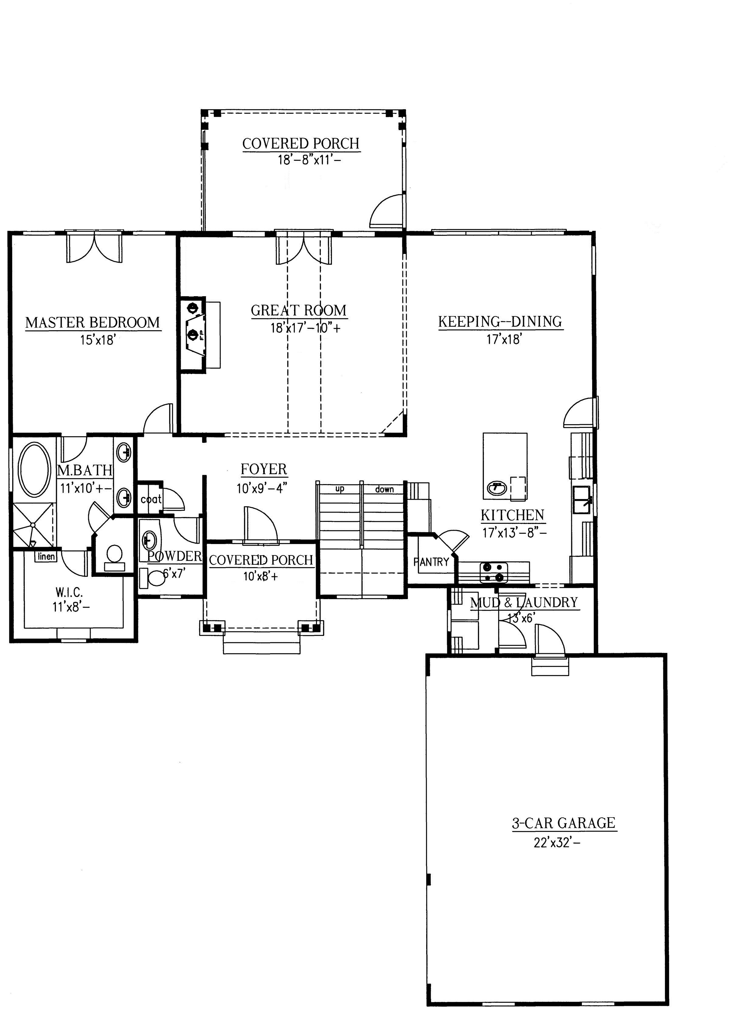 Great room with loft first floor plan sdl custom homes for 2 story great room house plans