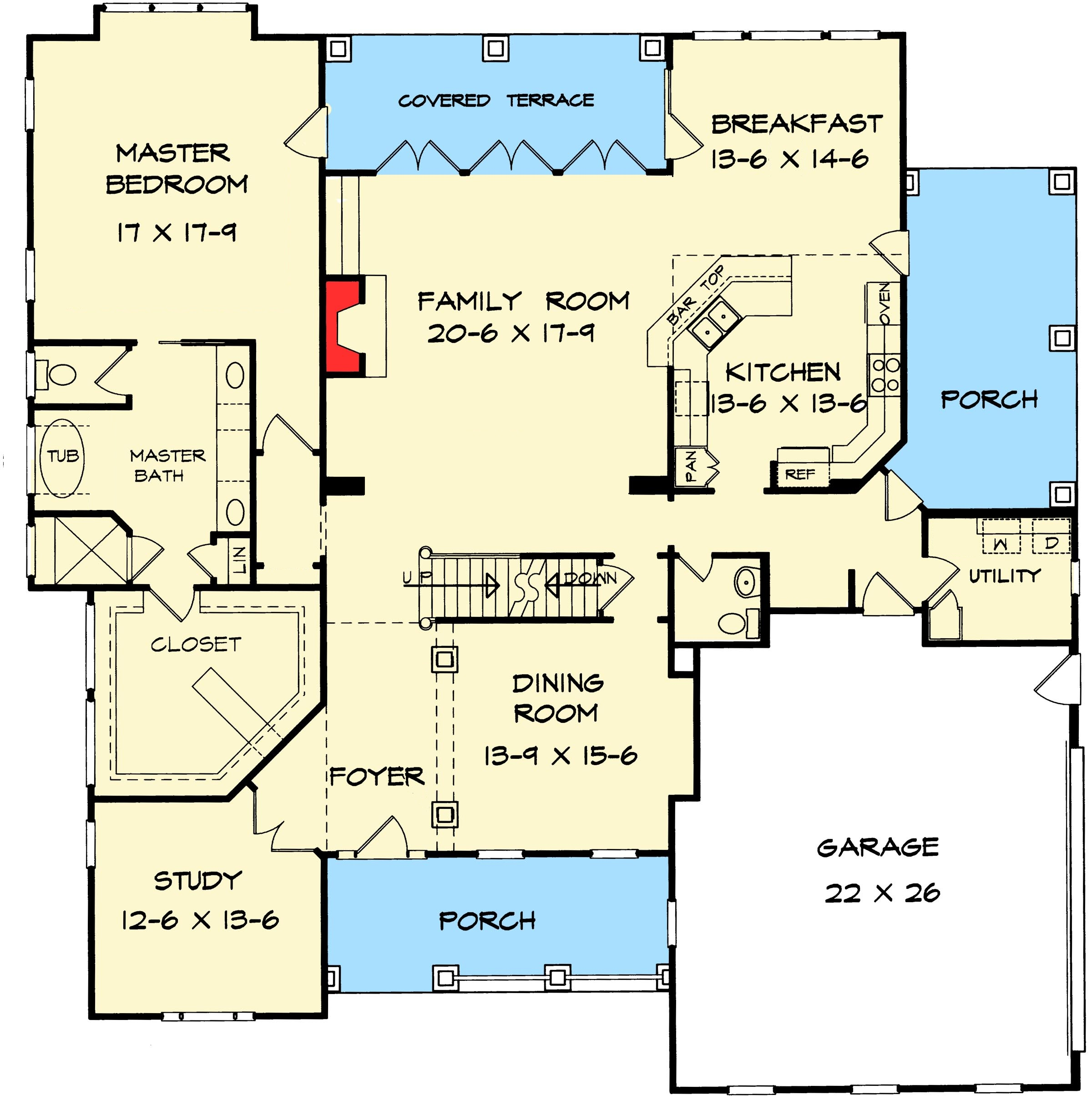 Side porch surprise first floor plan sdl custom homes for Side porch house plans