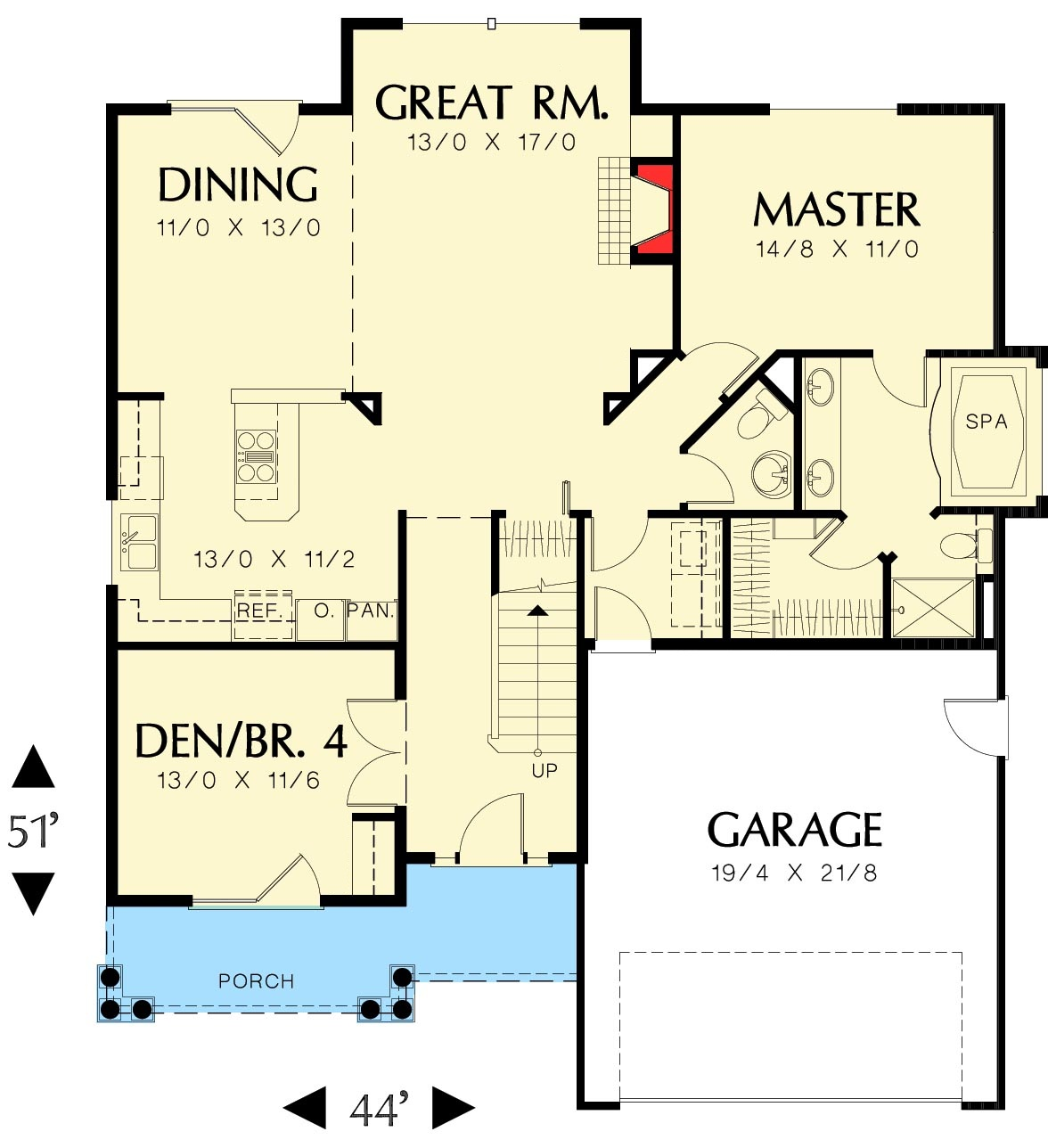 Compact Craftsman Style First Floor Plan Sdl Custom Homes
