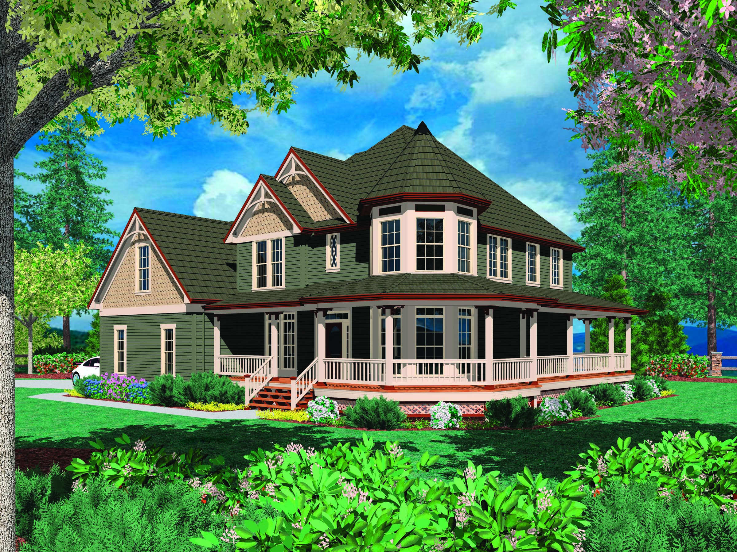 Custom victorian with wrap around porch maverick homes for Custom built victorian homes