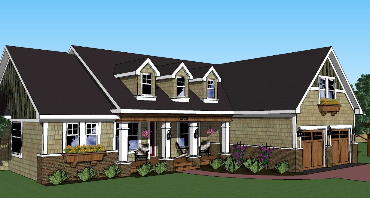 Flex Space & Bonus Room cape cod home plan