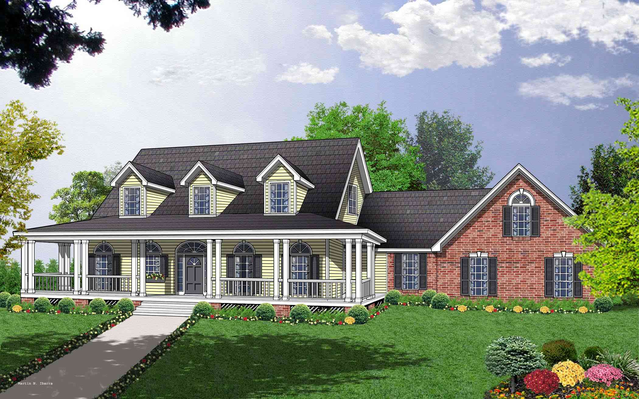 Spacious custom cape cod house plan sdl custom homes for Modified cape cod house plans
