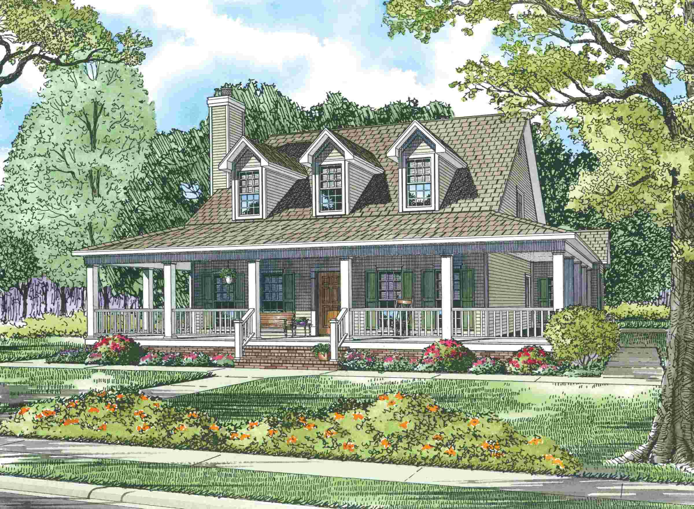 Cape cod house with wrap around porch sdl custom homes for Modified cape cod house plans